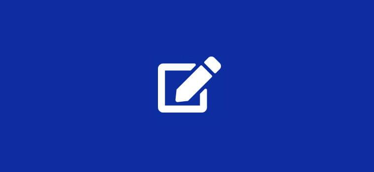 Sfondo blu con icona penna bianca