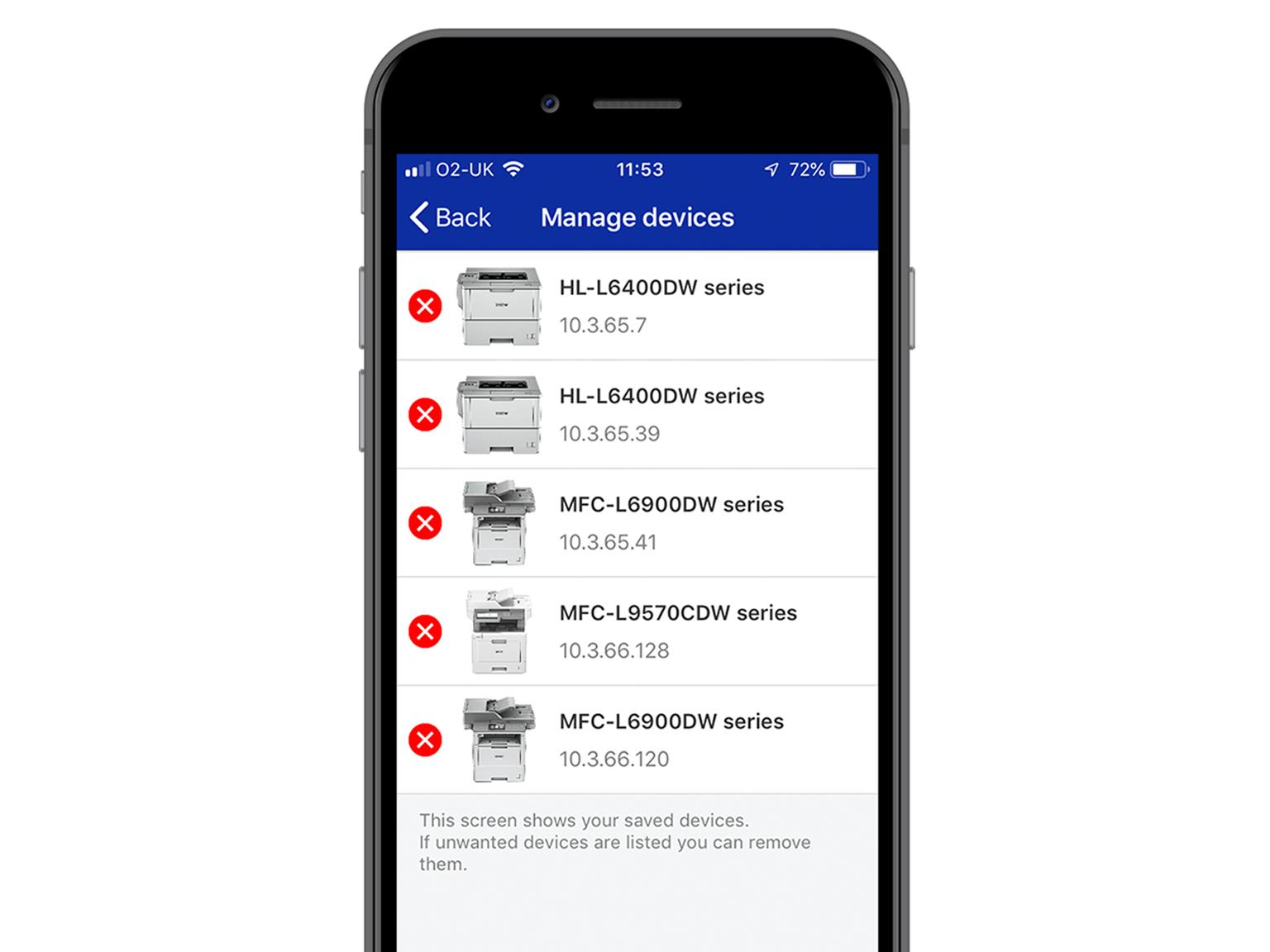 Schermata app My Supplies con dispositivi di stampa