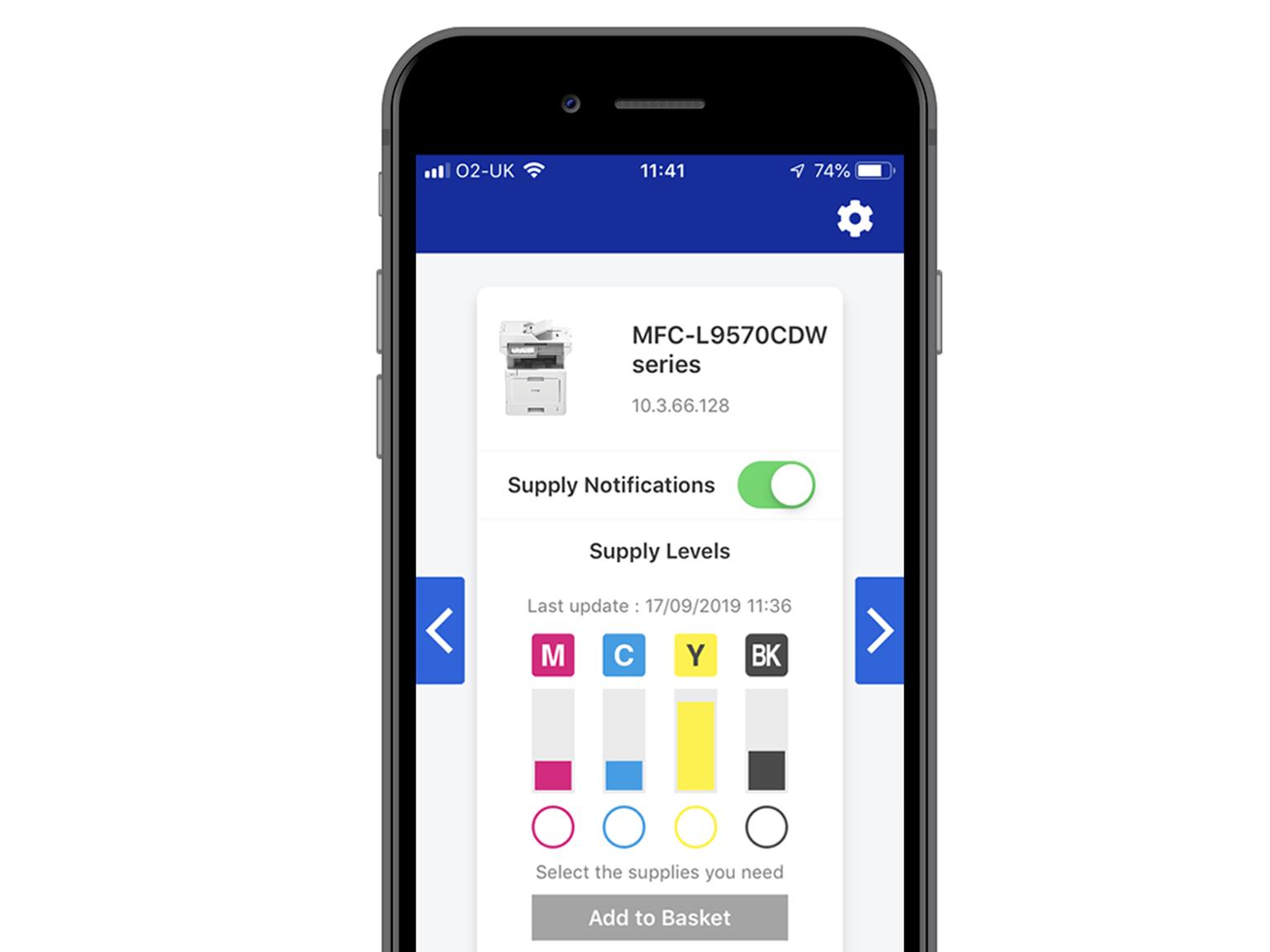 Schermata app My Supplies con messaggio toner insufficiente