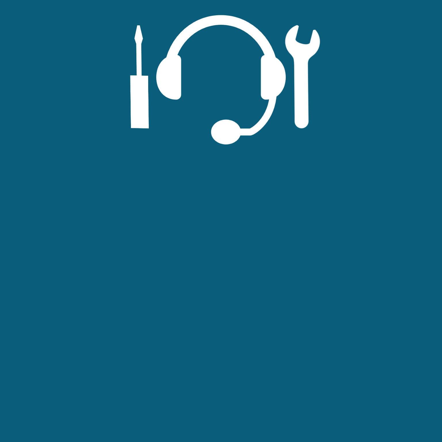 Logo cuffie con microfono con a lato cacciavite e chiave inglese