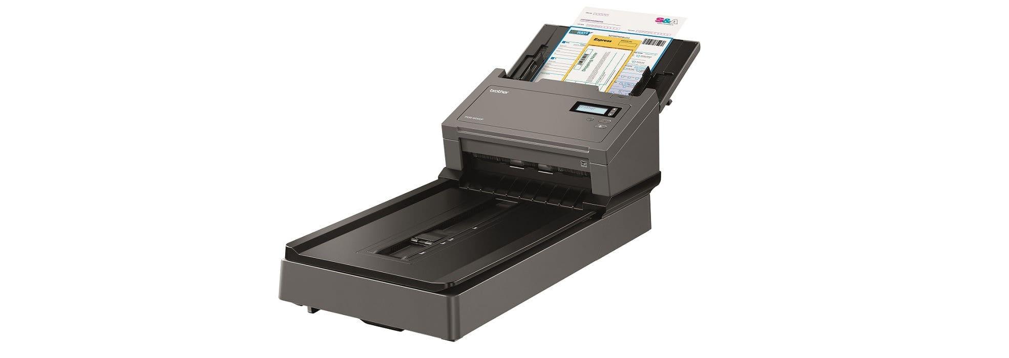 Scanner professionale ad alta velocità Brother PDS-6000F con piano fisso per documenti multipli e rilegati