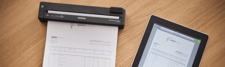 PJ-673 che stampa un documento da tablet