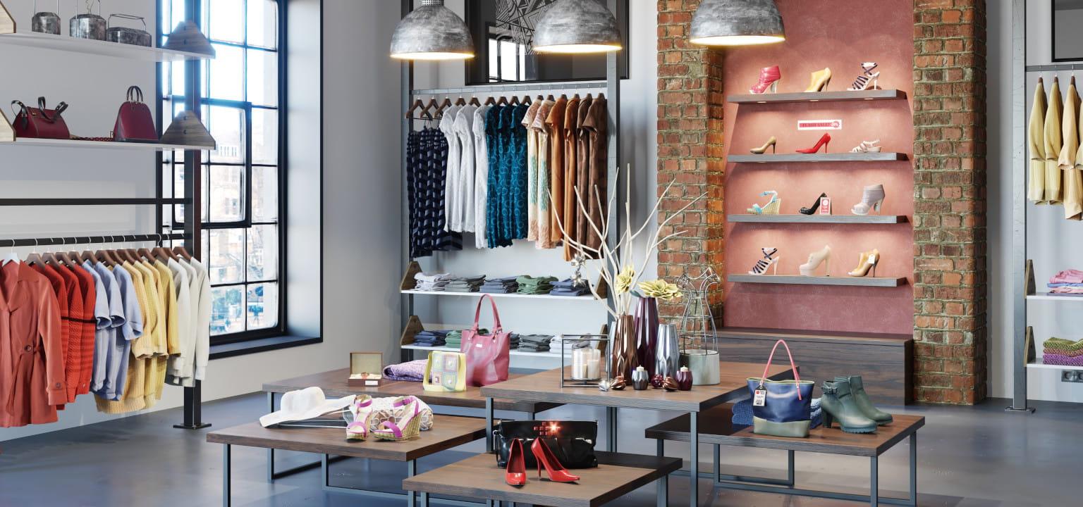 negozio di abbigliamento con scarpe, vestiti e giacche da donna in esposizione