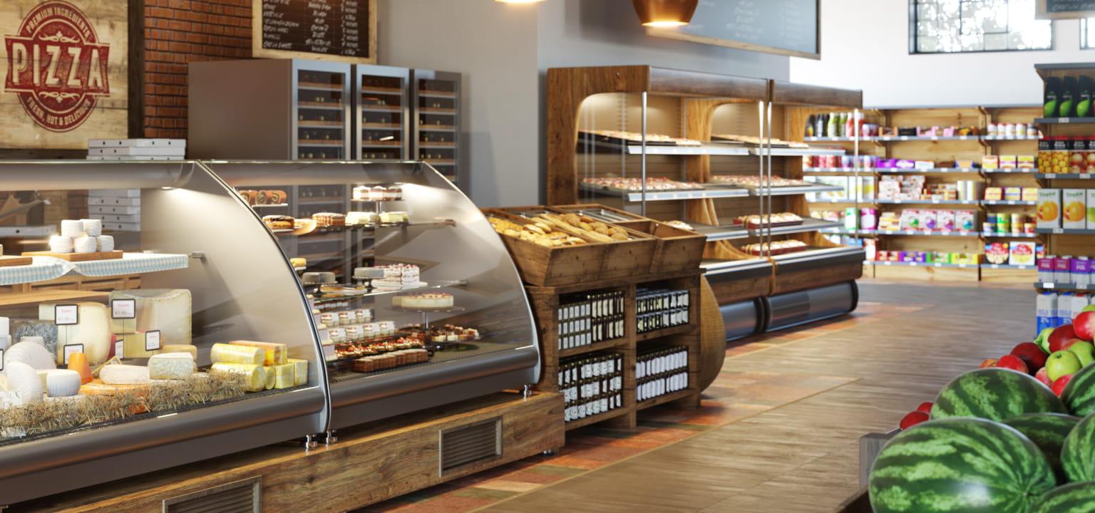 negozio di alimentari con prodotti in vista al banco alimentari