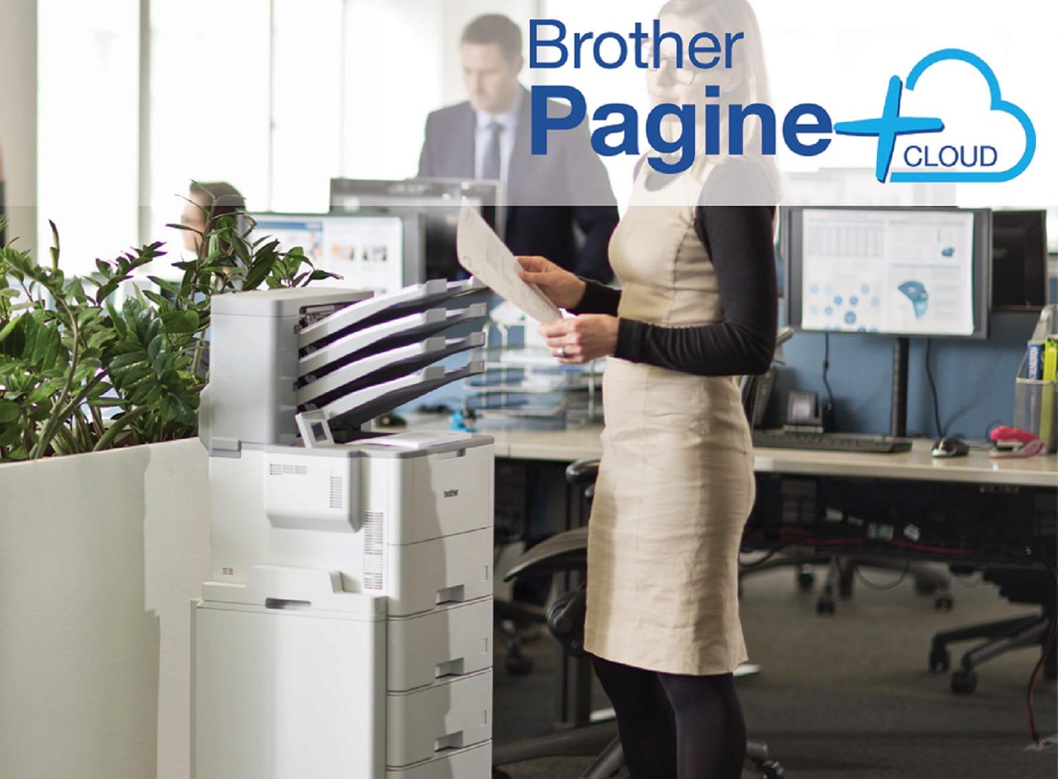 Stampante laser mono Brother HL-L6400DWT in ufficio con logo del servizio MPS Pagine+ Cloud