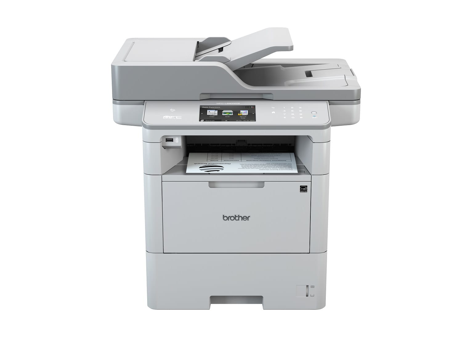 Stampante multifunzione laser Brother MFC-L6900DW con foglio stampato in uscita
