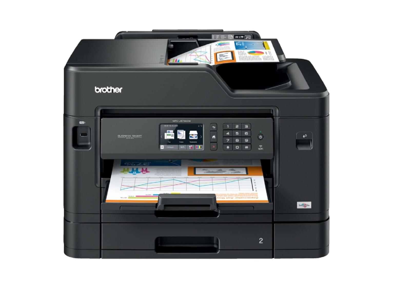 Stampante multifunzione professionale Brother Business Smart MFC-J5730DW con foglio in ADF e foglio stampat in uscita