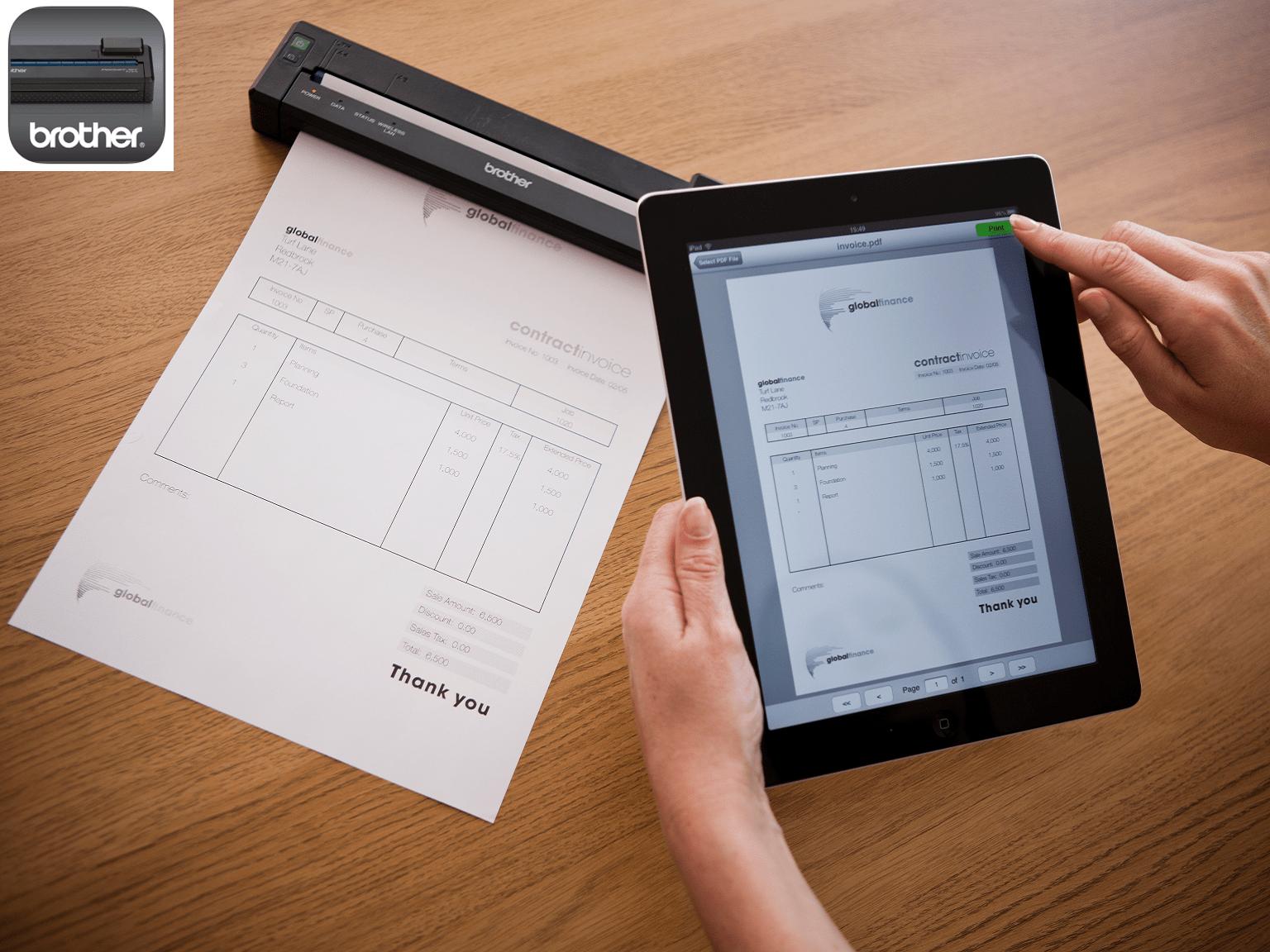 Stampa da stampante portatile PJ-673 tramite tablet con logo app Brother PJ-673 print