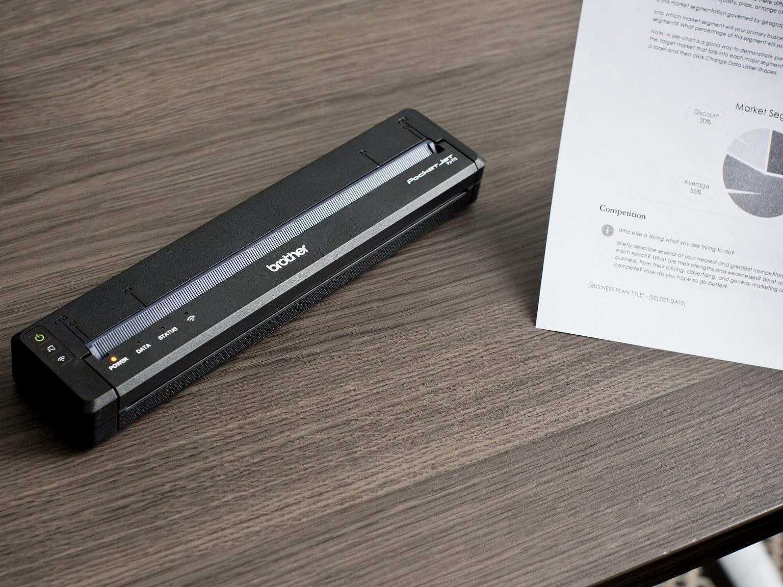 Foglio stampato da stampante portatile Brother PJ serie 700
