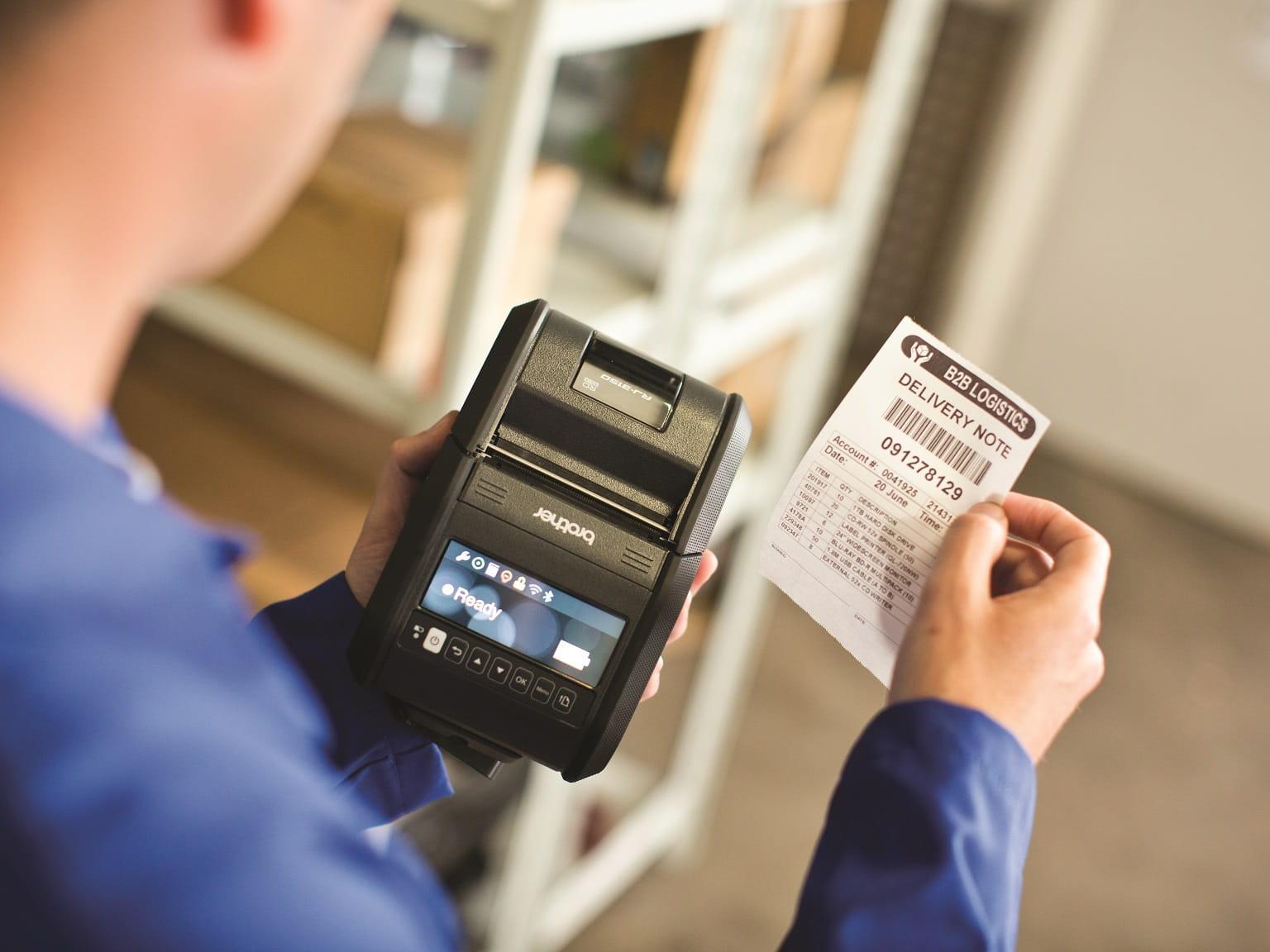 Etichetta stampata con stampante di etichette Brother RJ