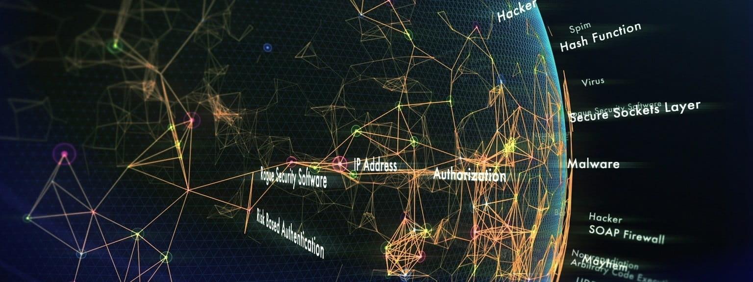 Mondo con linee web di connessione e scritte legate alle sicurezza
