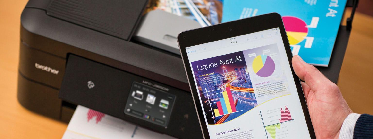 Foglio stampato da tablet tramite WiFi con stampante Brother