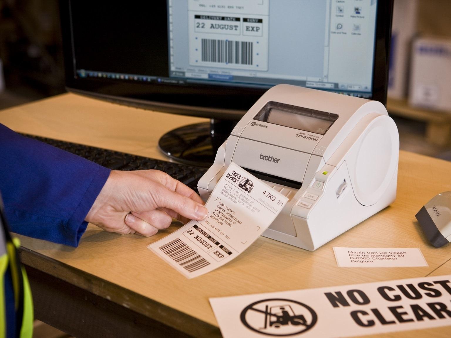 Etichetta stampata con stampante per etichette industriale Brother serie TD