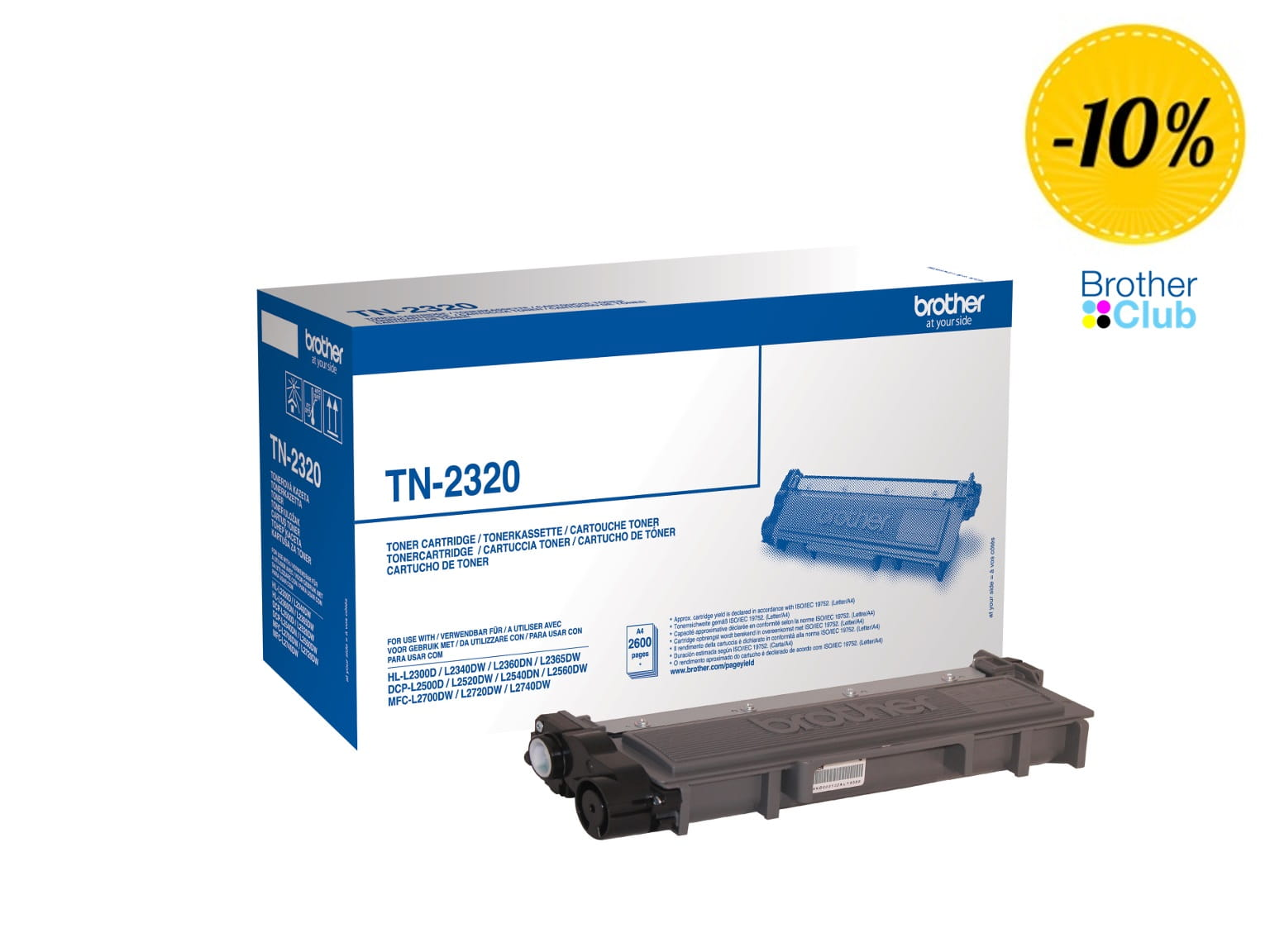 Toner originale nero Brother TN2320 con 10% di sconto