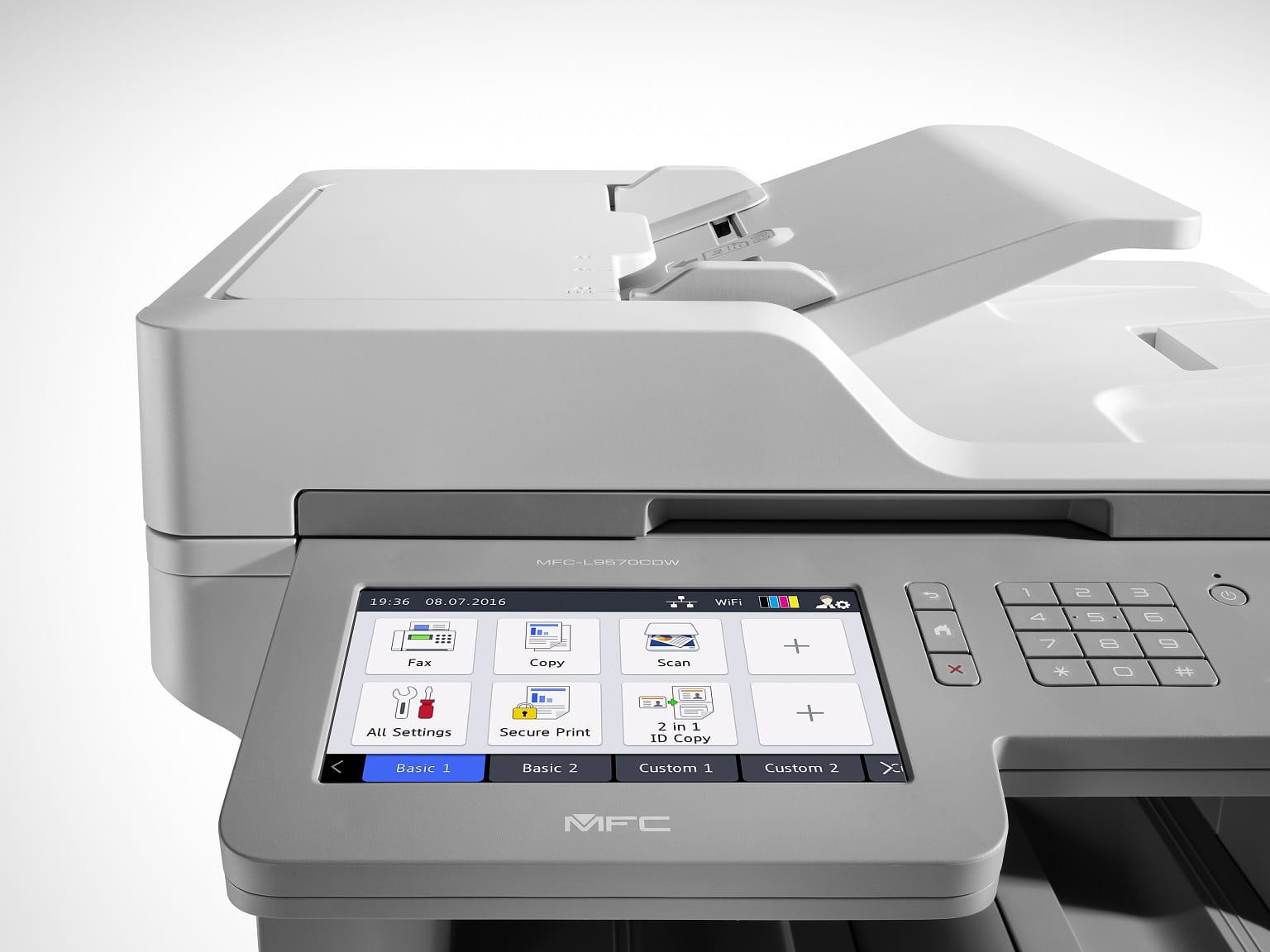 Display touchscreen della stampante multifunzione laser a colori Brother MFCL9570CDW