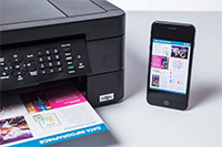 Stampa da smartphone con stampante multifunzione inkjet compatta Brother MFC-J491DW