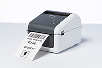 Brother TD-4410 desktop label printer with barcode printed on label