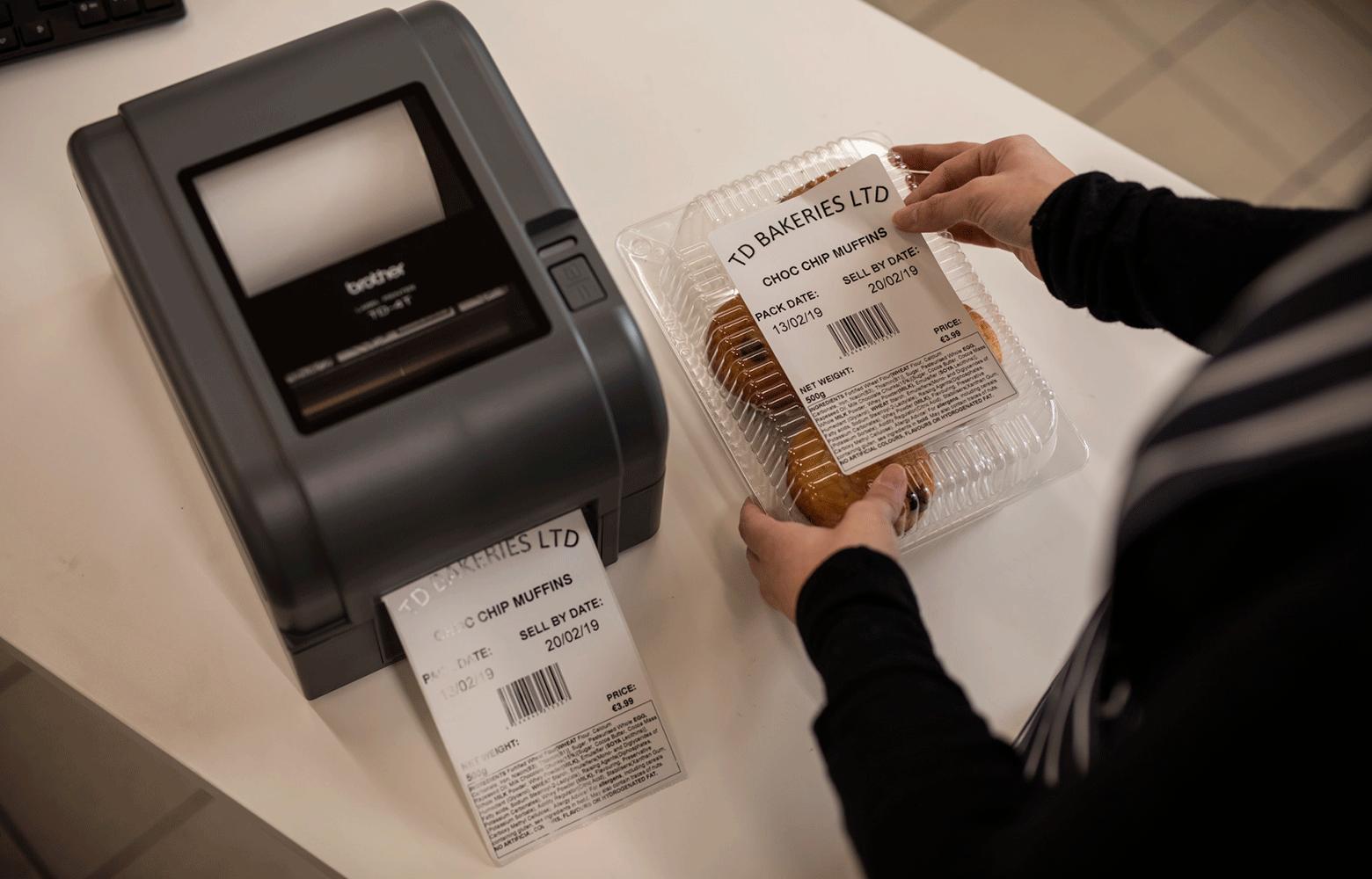 Stampante TD stampa etichetta per scatola di muffin