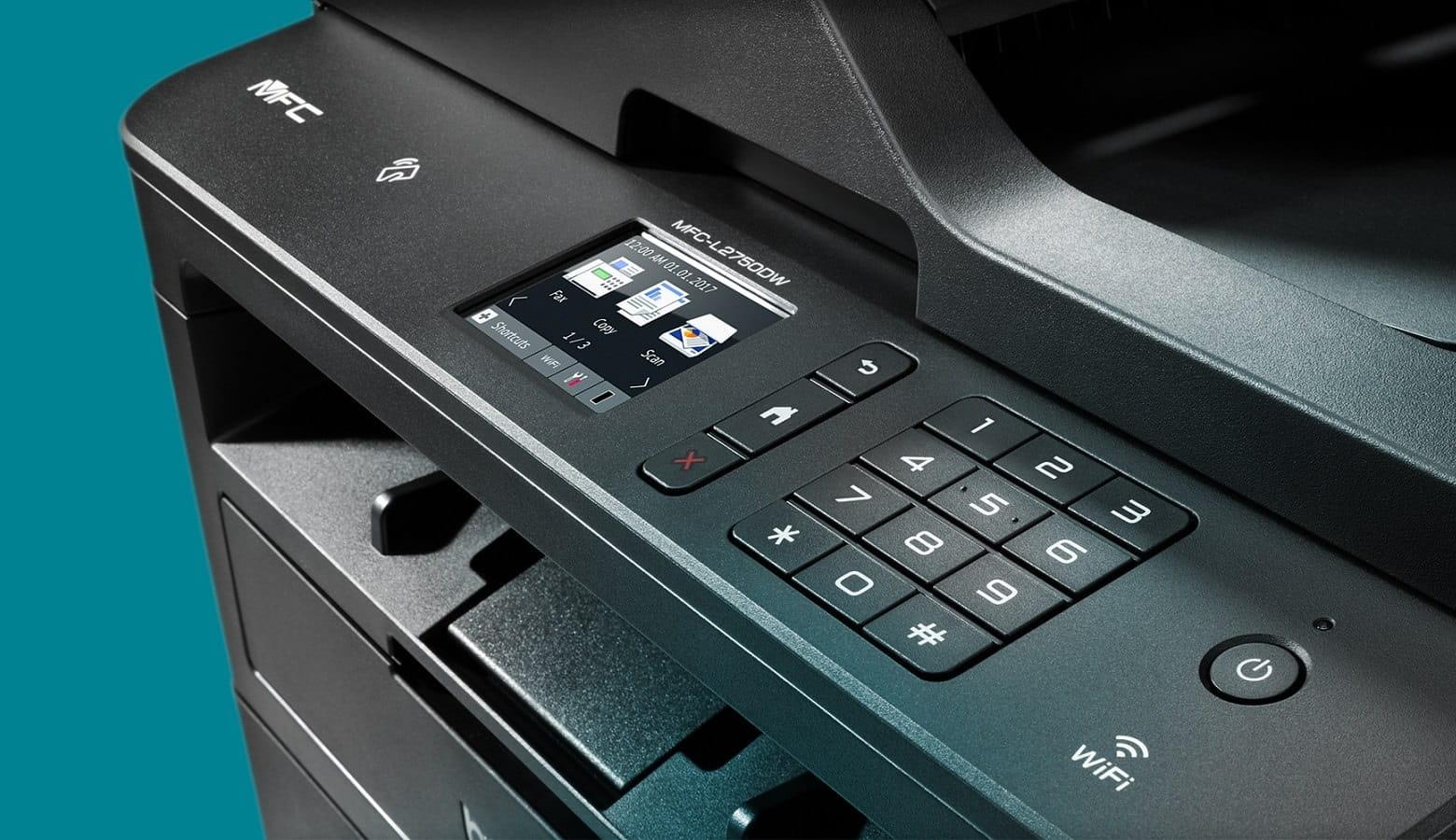 Dettaglio del display touchscreen della nuova stampante multifunzione laser Brother MFCL2750DW