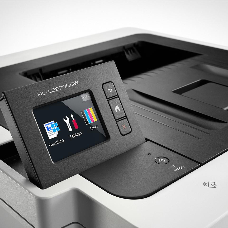 HL-L3270CDW Stampante LED a colori con Wi-Fi, stampa fronte-retro automatica, Ethernet, display touchscreen 3