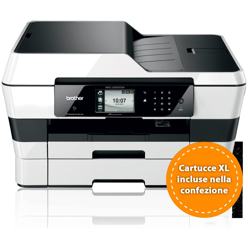 Multifunzione professionale inkjet A3 Brother MFC-J6925DW con cartucce XL ad alta capacità incluse nella confezione