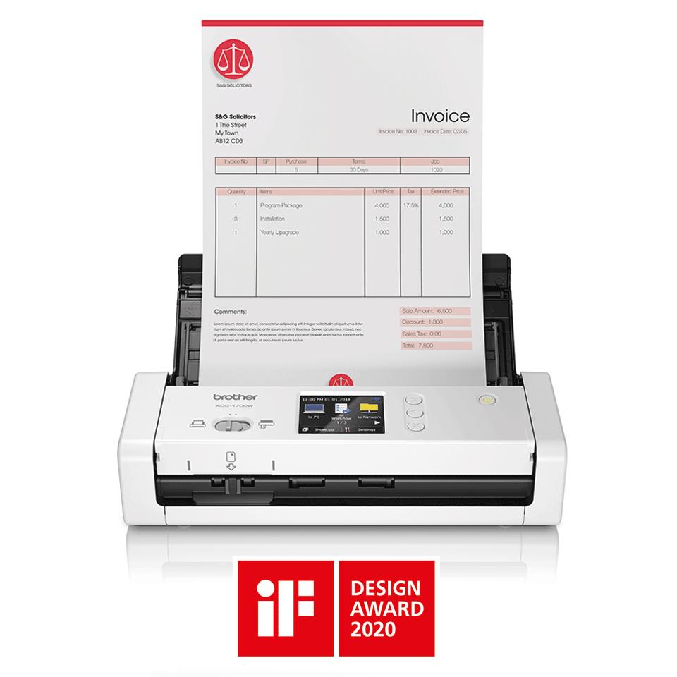 ADS-1700W Scanner desktop compatto con duplex (DUAL CIS) e Wi-Fi 3