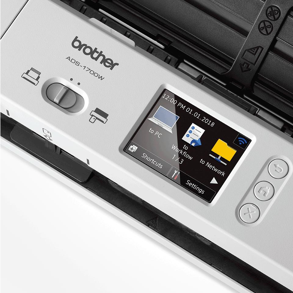 ADS-1700W Scanner desktop compatto con duplex (DUAL CIS) e Wi-Fi 8