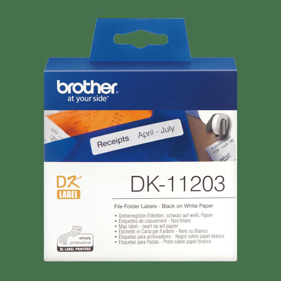 Rotolo di etichette originale Brother DK-11203 – Nero su bianco, 17 mm x 87 mm