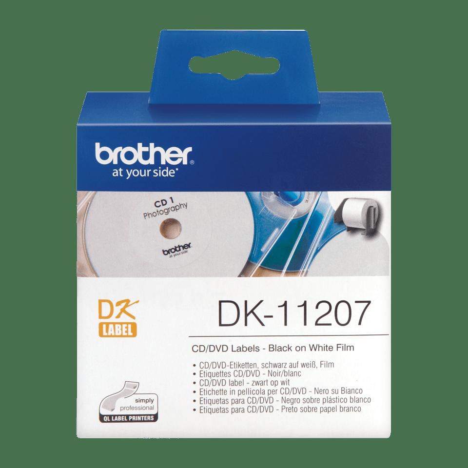 Rotolo di etichette di pellicola per CD/DVD originale Brother DK-11207 – Nero su bianco, 58 mm di diametro