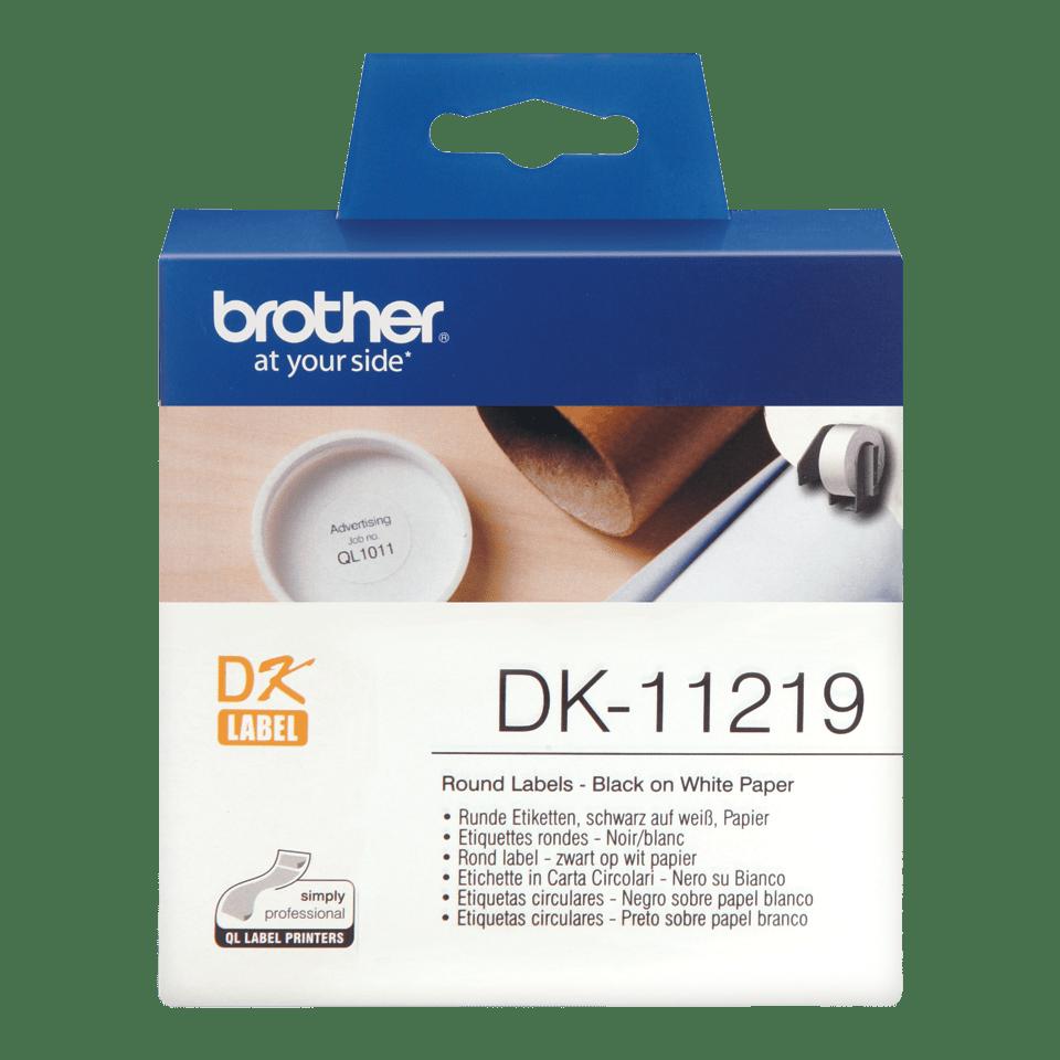 Brother DK-11219 Rotolo di etichette circolari originale – Nero su bianco, 29 mm x 90 mm Ø 12 mm