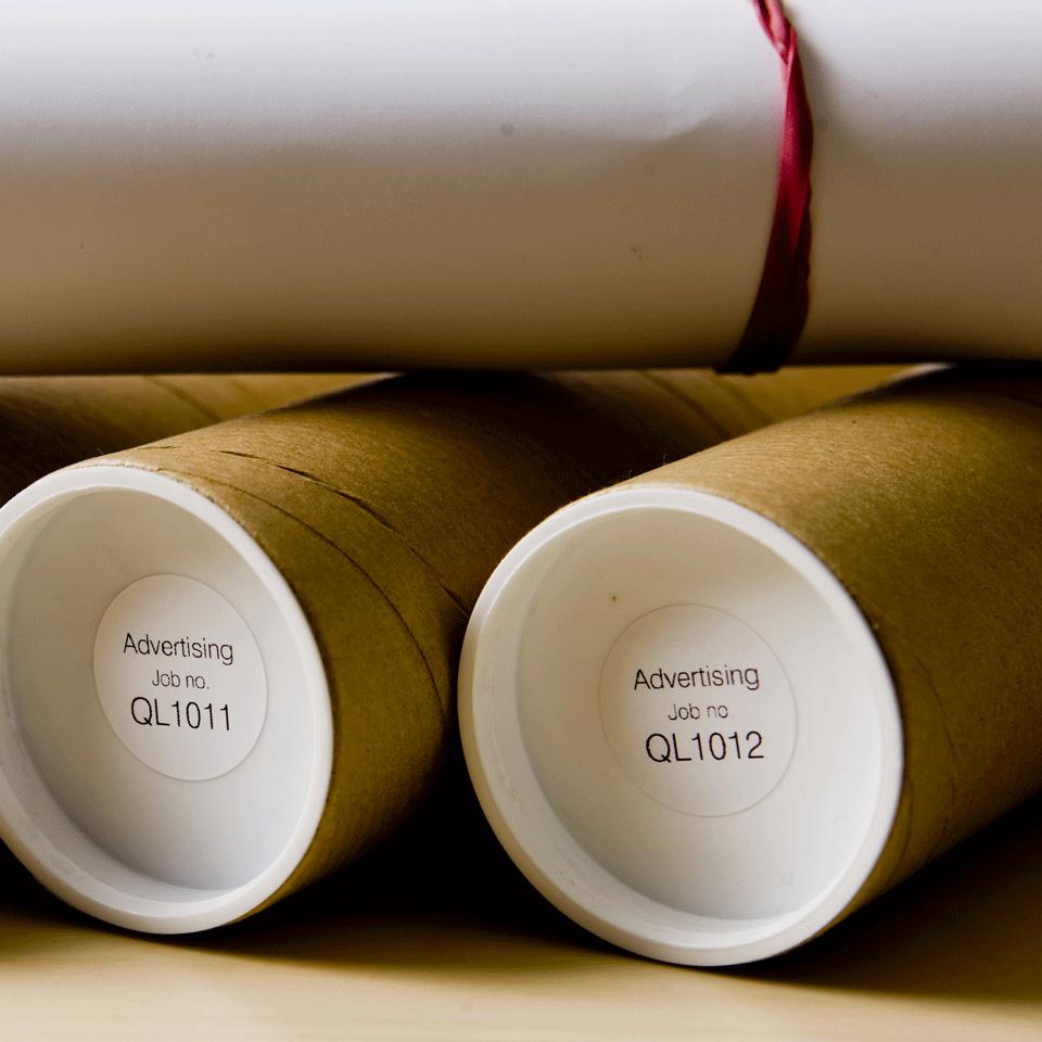 Brother DK-11219 Rotolo di etichette circolari originale – Nero su bianco, 29 mm x 90 mm Ø 12 mm 2