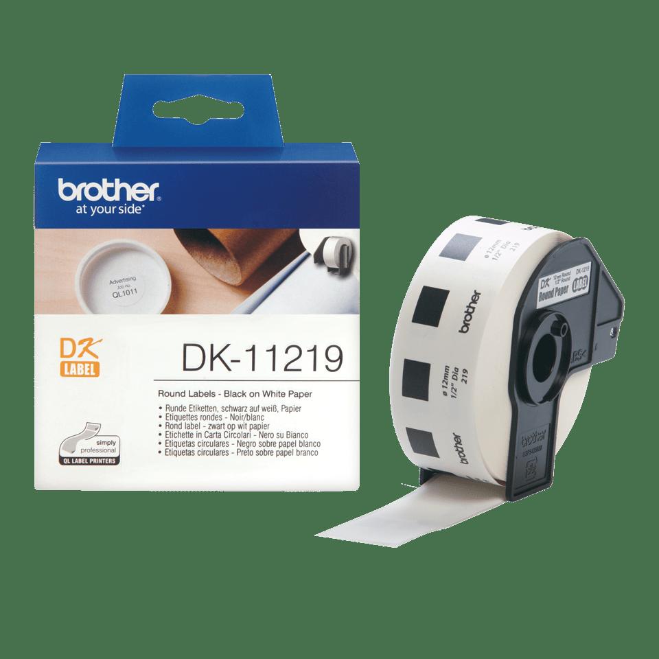 Brother DK-11219 Rotolo di etichette circolari originale – Nero su bianco, 29 mm x 90 mm Ø 12 mm 3