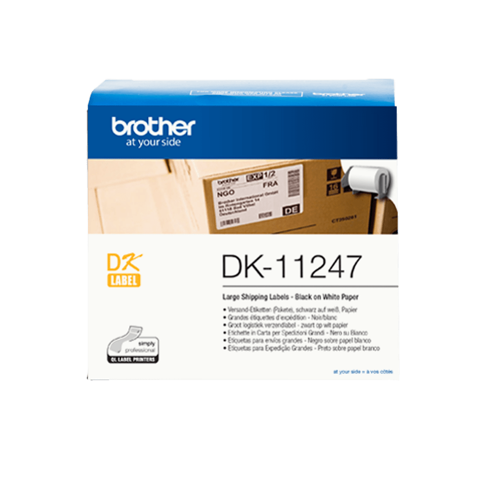 Brother DK-11247 Etichette originali adesive in carta - Nero/Bianco