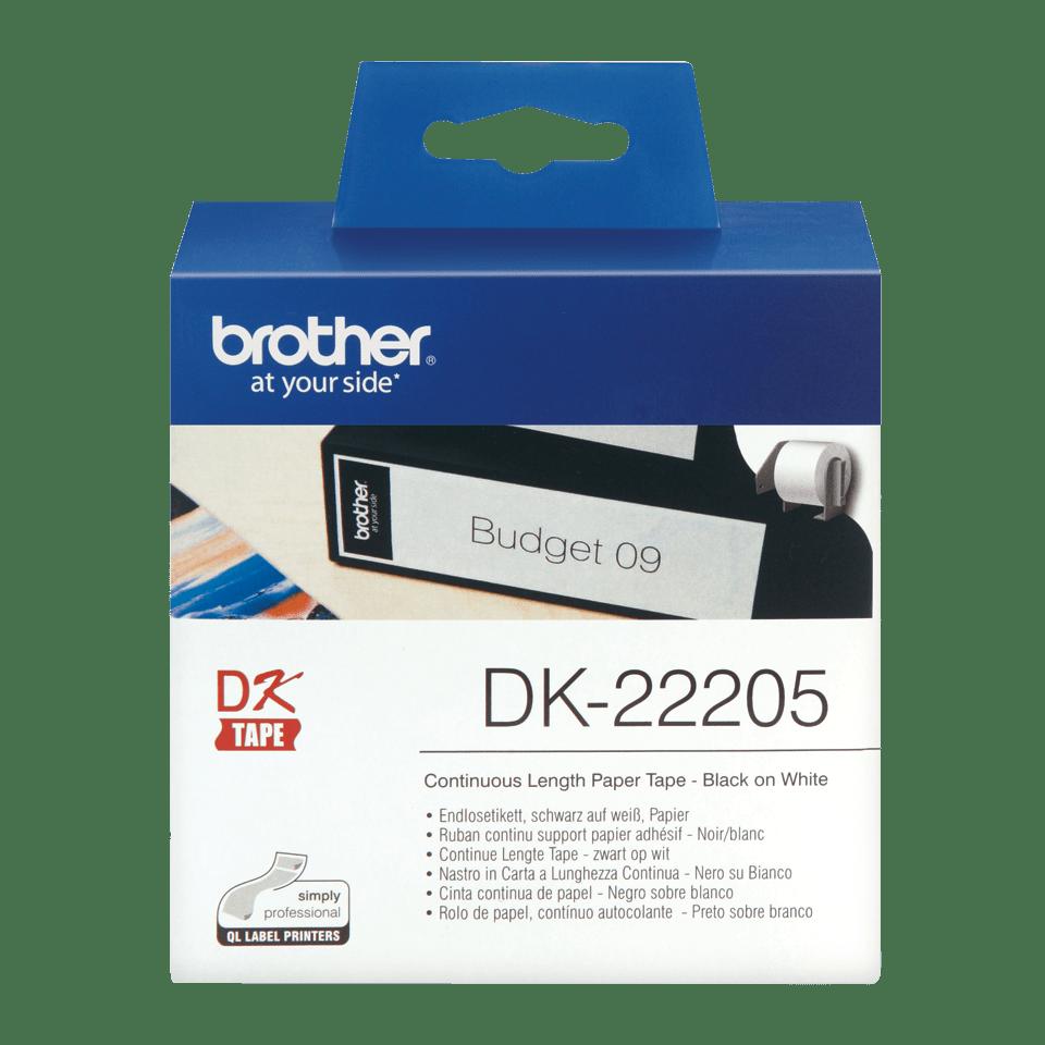 Rotolo di etichette di carta a lunghezza continua originale Brother DK-22205 – Nero su bianco, 62 mm di larghezza