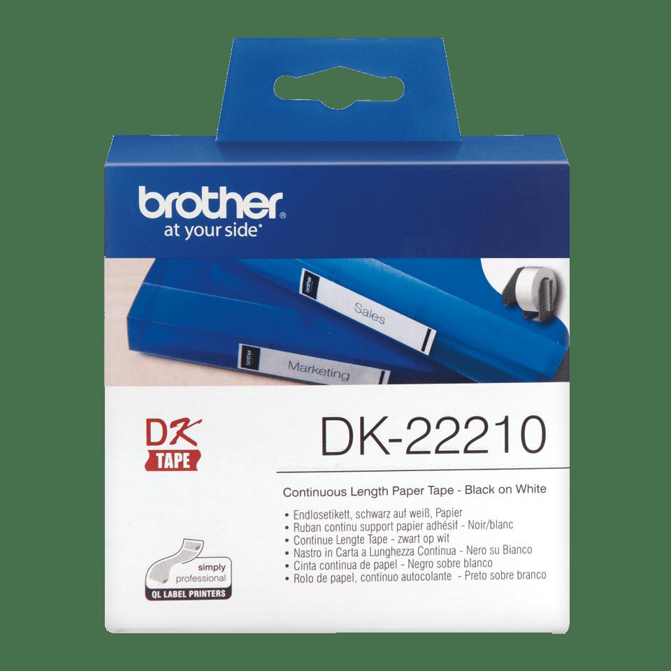 Rotolo di etichette di carta a lunghezza continua originale Brother DK-22210 – Nero su bianco, 29 mm di larghezza