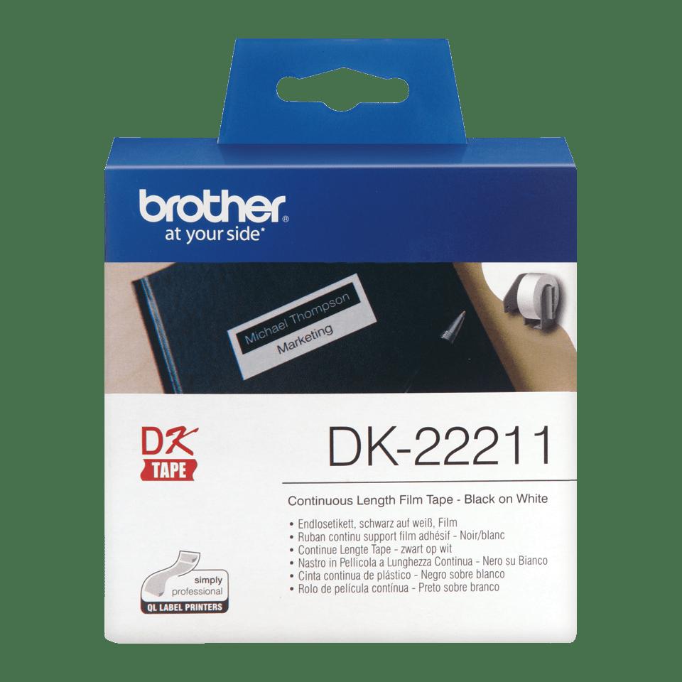 Rotolo di etichette originale Brother DK-22211 – Nero su bianco, 29 mm x 15,24 m