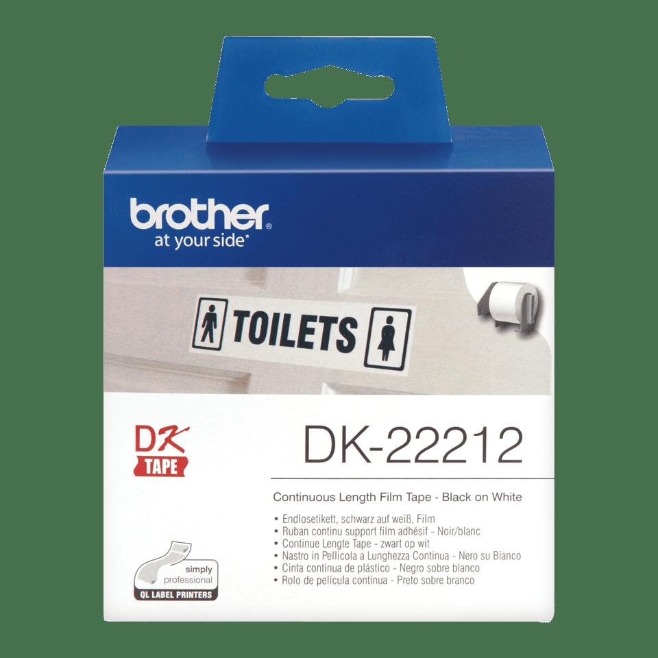 Rotolo di etichette di pellicola a lunghezza continua originale Brother DK-22212 – Nero su bianco, 62 mm di larghezza.