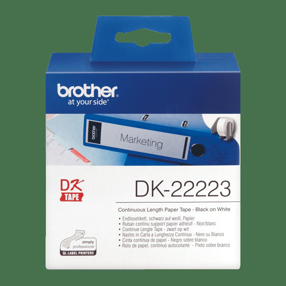 Rotolo di etichette di carta a lunghezza continua originale Brother DK-22223 – Nero su bianco, 50 mm di larghezza