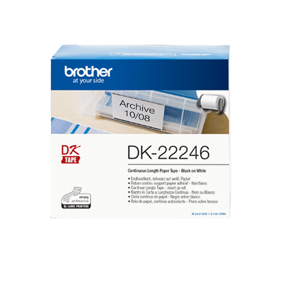 Brother DK-22246 Nastro originale adesivo in carta a lunghezza continua - Nero/Bianco