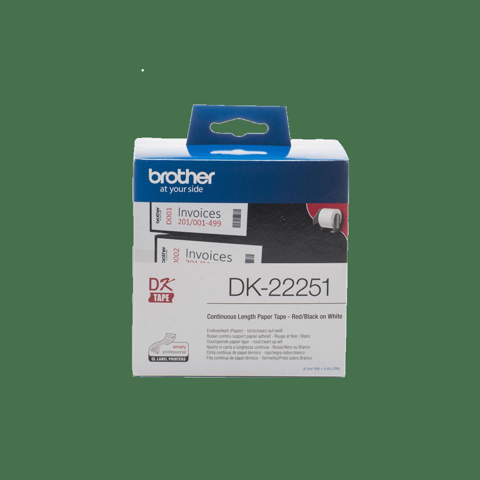 Brother DK-22251 Rotolo di etichette a lunghezza continua originale  – Nero e rosso su bianco, 62 mm