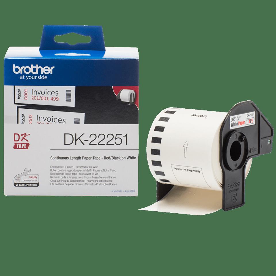 Rotolo a lunghezza continua e confezione di Brother DK-22251 per stampanti di etichette QL-800. Clicca per ingrandire l'immagine