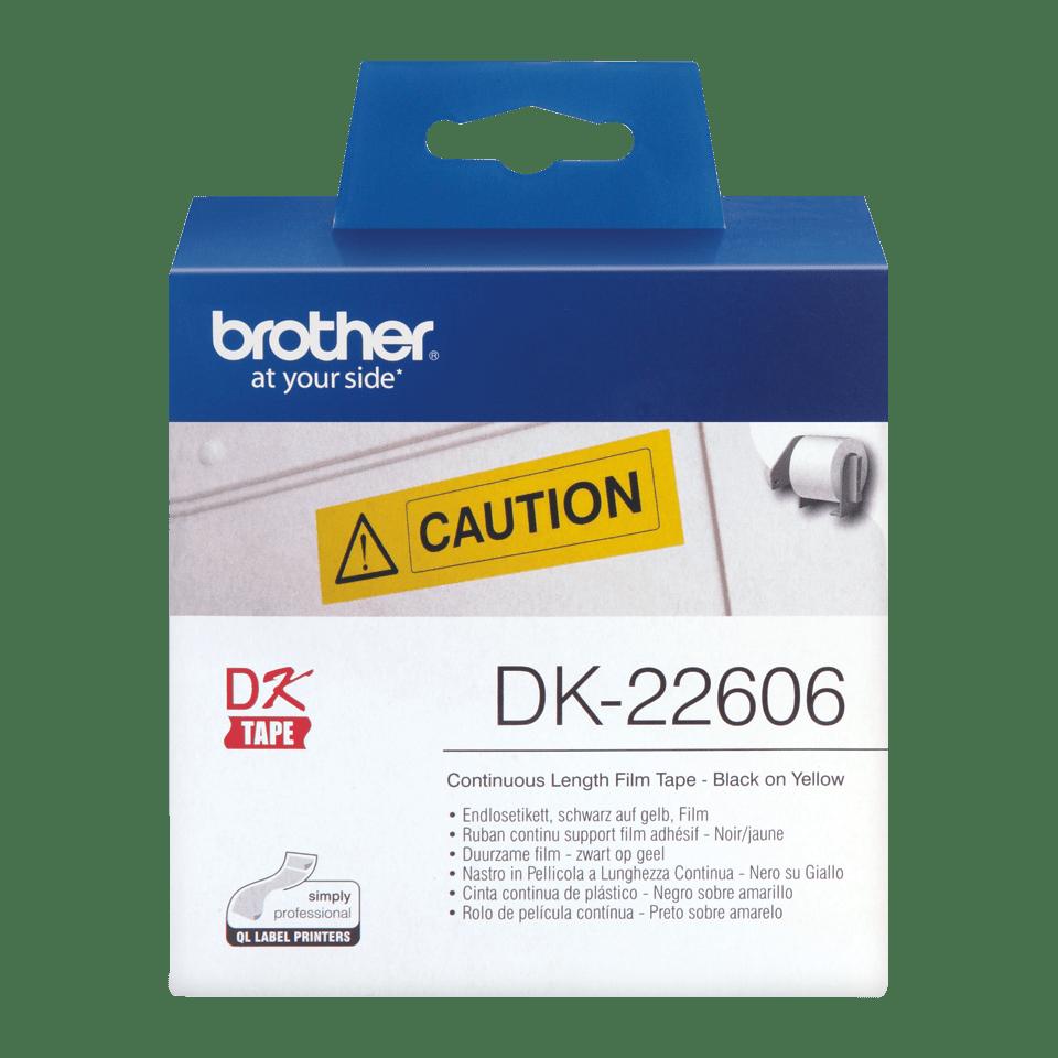 Nastro di etichette di pellicola a lunghezza continua originale Brother DK-22606 – Nero su giallo, 62 mm di larghezza