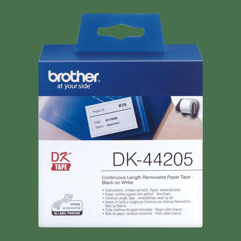 Rotolo di etichette di carta a lunghezza continua con adesivo rimovibile originale Brother DK-44205 – Nero su bianco, 62 mm 0