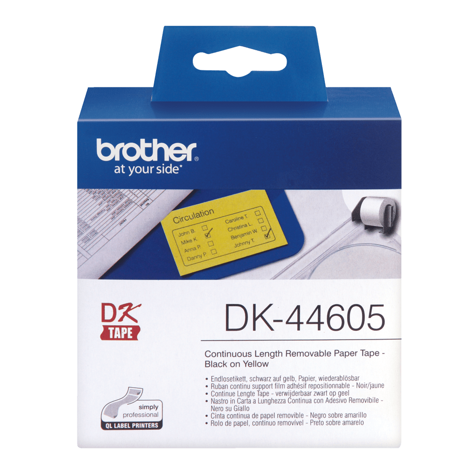Rotolo di etichette originale Brother DK-44605 – Nero su giallo, 62 mm x 30,48 m
