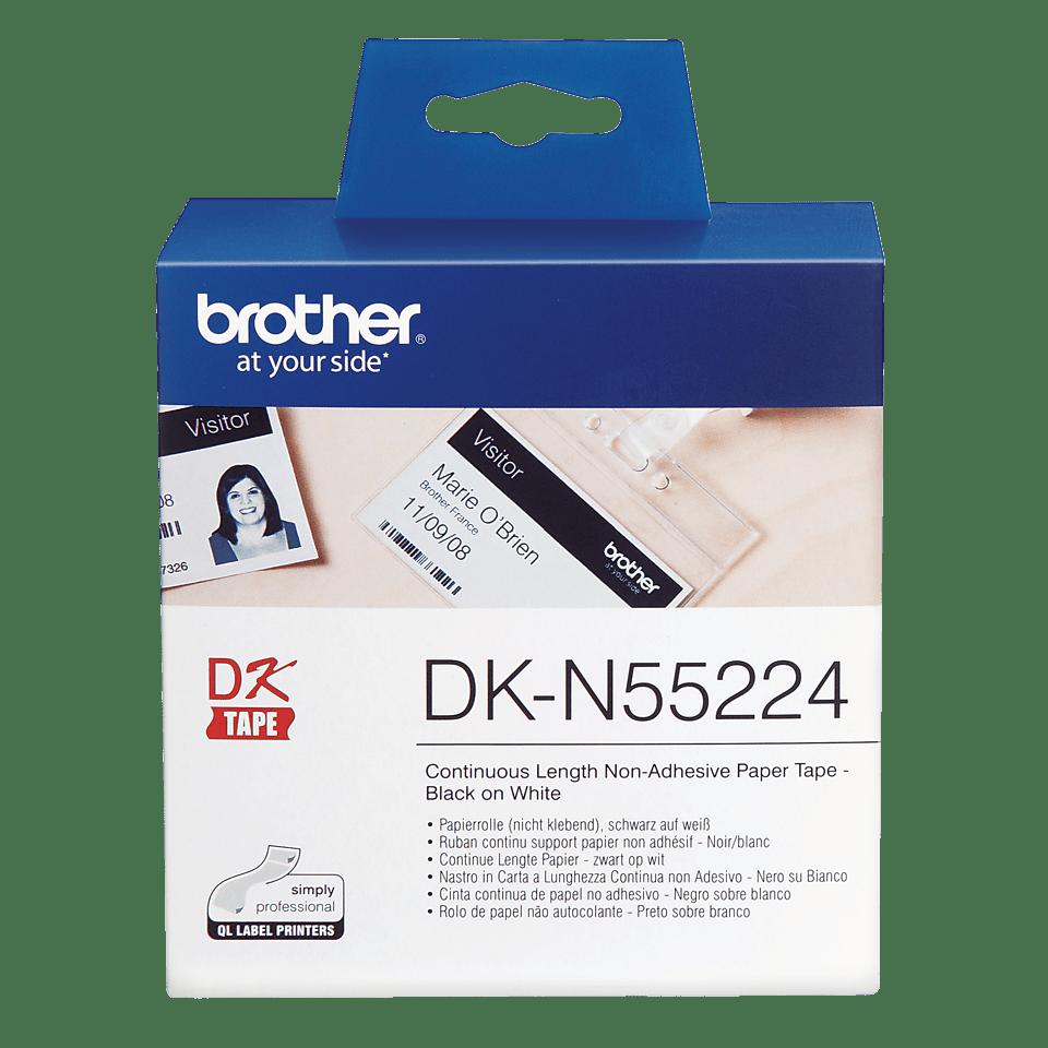 Rotolo di carta non adesiva a lunghezza continua originale Brother DK-N55224 – Nero su bianco da 54 mm 0