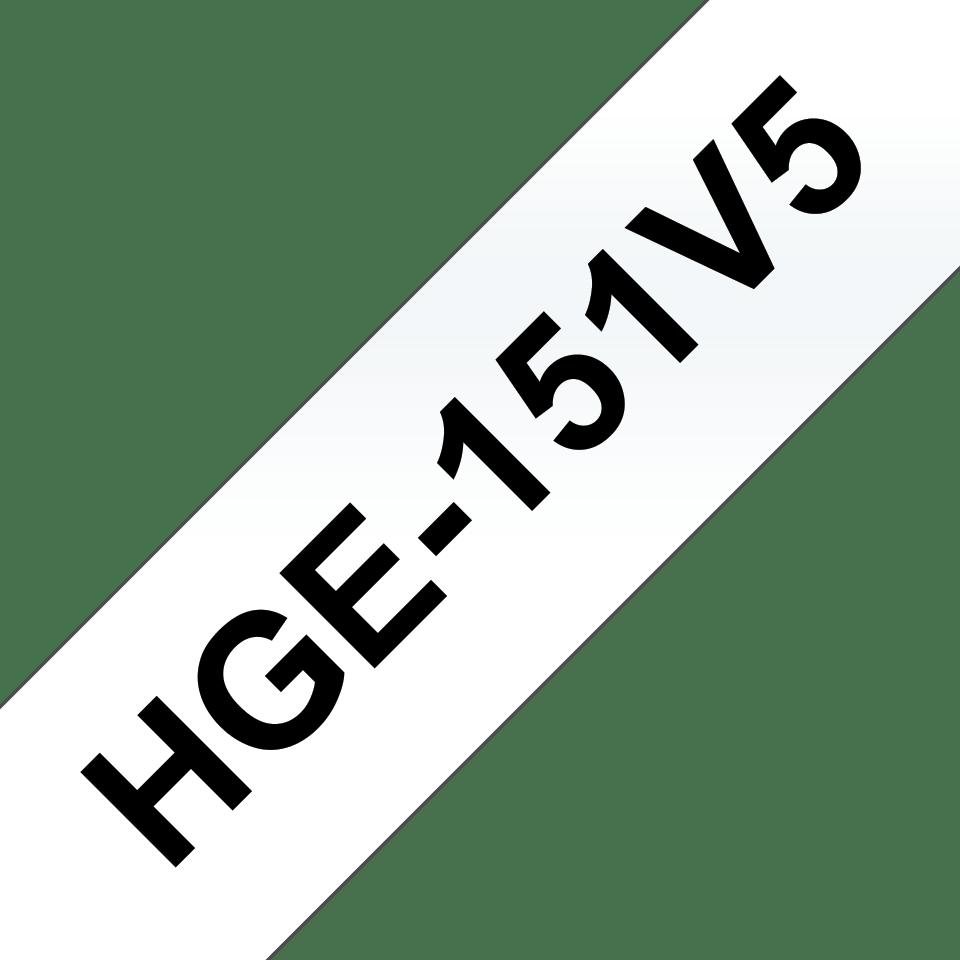 Cassetta nastro per etichettatura originale Brother HGe-151V5 – Nero su trasparente, 24 mm di larghezza
