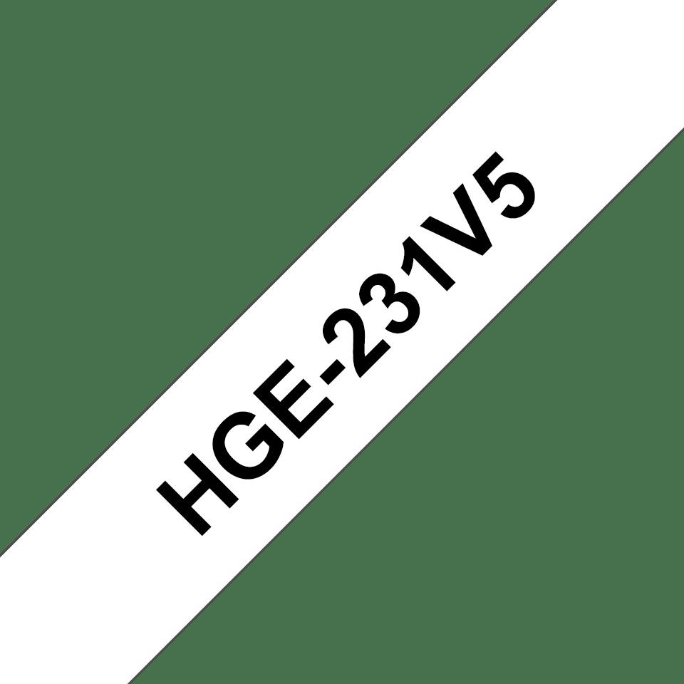 Cassetta nastro per etichettatura originale Brother HGe-231V5 – Nero su bianco, 12 mm di larghezza