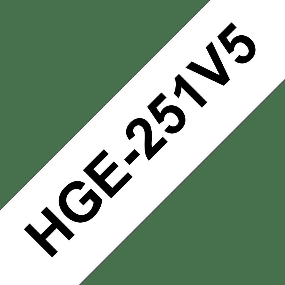 Cassetta nastro per etichettatura originale Brother HGe-251V5 – Nero su bianco, 24 mm di larghezza
