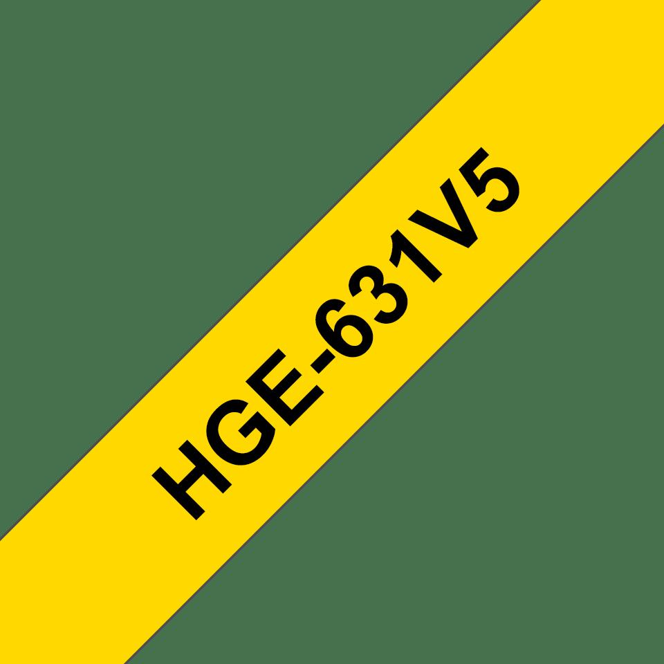 Cassetta nastro per etichettatura originale Brother HGe-631V5 – Nero su giallo, 12 mm di larghezza 0
