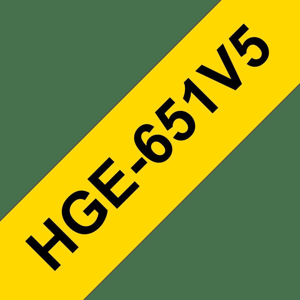 Cassetta nastro per etichettatura originale Brother HGe-651V5 – Nero su giallo, 24 mm di larghezza 0